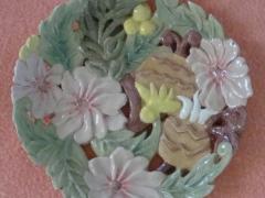 573-Plato Tallado de flores